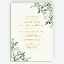 Gold & Greenery Geometric Wedding Invitation