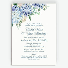 Blue Hydrangea Watercolour Wedding Invitation