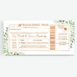 Foil Printed Greenery Boarding Pass Wedding Invitation