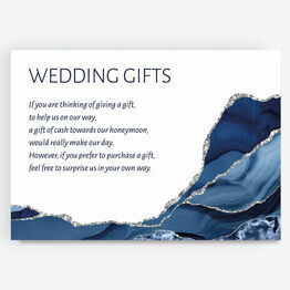 Navy Blue & Silver Watercolour Agate Gift Wish Card