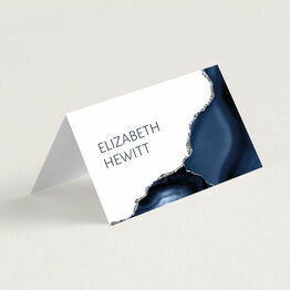Navy Blue & Silver Watercolour Agate Place Card