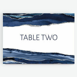 Navy Blue & Silver Watercolour Agate Table Name