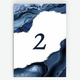 Navy Blue & Silver Watercolour Agate Table Number