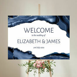 Navy Blue & Silver Watercolour Agate Wedding Welcome Sign