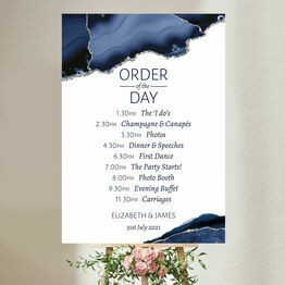 Navy Blue & Silver Watercolour Agate Wedding Order of the Day Sign