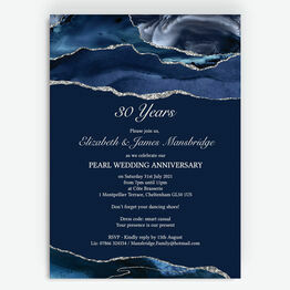 Navy Blue & Silver 30th / Pearl Wedding Anniversary Invitation