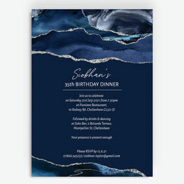 Navy Blue & Silver Milestone Birthday Invitation
