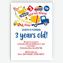 Diggers, Trucks & Construction Birthday Party Invitation