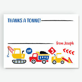 Diggers, Trucks & Construction Thank You Cards