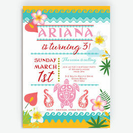 South Pacific Tropical Island Birthday Party Invitations