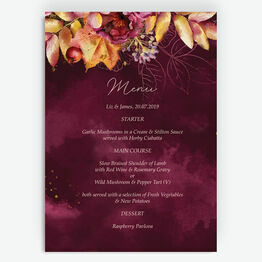 Autumn Burgundy Floral Menu