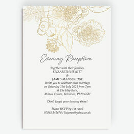 White & Gold Floral Outline Evening Reception Invitation