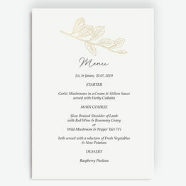 White & Gold Floral Outline Menu