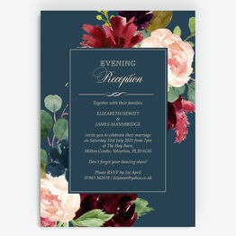 Navy, Burgundy & Blush Floral Evening Reception Invitation