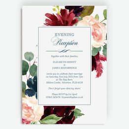 Navy, Burgundy, Blush & White Floral Evening Reception Invitation
