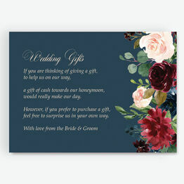 Navy, Burgundy & Blush Floral Gift Wish Card