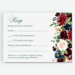 Navy, Burgundy, Blush & White Floral RSVP