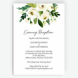 White & Green Floral Evening Reception Invitation