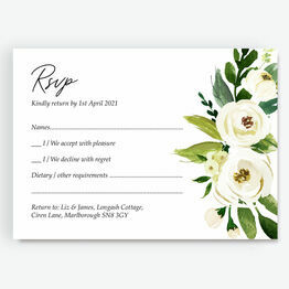 White & Green Floral RSVP