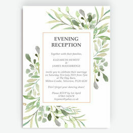 Greenery Frame Evening Reception Invitation