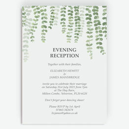 Eucalyptus Evening Reception Invitation