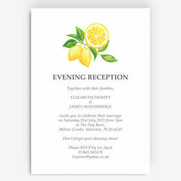 Watercolour Lemons Evening Reception Invitation
