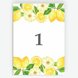Watercolour Lemons Table Number