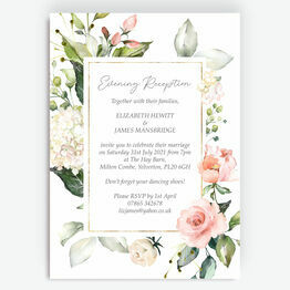 White, Blush & Gold Geometric Floral Evening Reception Invitation