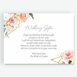 White, Blush & Gold Geometric Floral Gift Wish Card