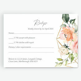 White, Blush & Gold Geometric Floral RSVP