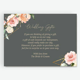 Grey, Blush & Gold Geometric Floral Gift Wish Card