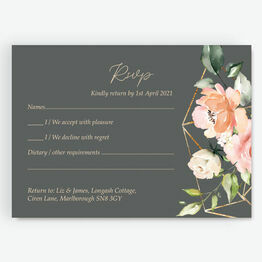 Grey, Blush & Gold Geometric Floral RSVP