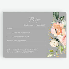 Dove Grey, Blush & Gold Geometric Floral RSVP