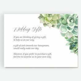 Watercolour Succulents Gift Wish Card