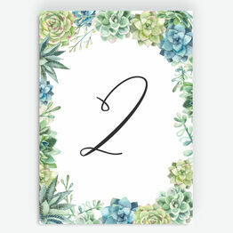 Watercolour Succulents Table Number
