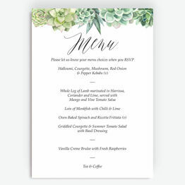 Watercolour Succulents Menu