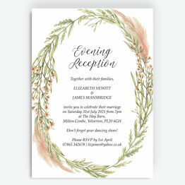 Pampas Grass Evening Reception Invitation