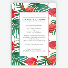 Tropical Red Anthurium Flowers Evening Reception Invitation