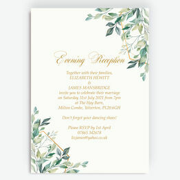 Gold & Greenery Geometric Evening Reception Invitation