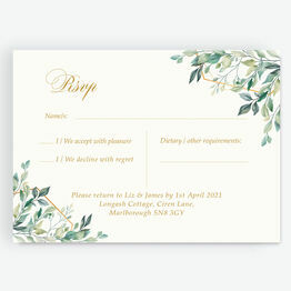 Gold & Greenery Geometric RSVP