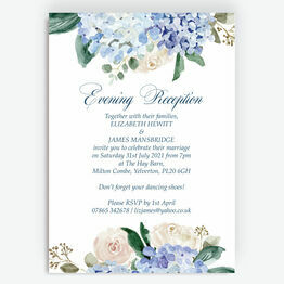 Blue Hydrangea Evening Reception Invitation