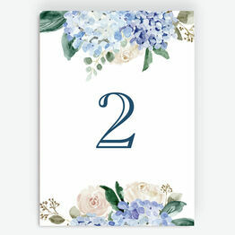 Blue Hydrangea Table Number