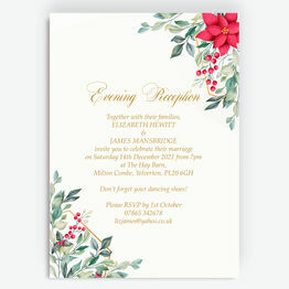 Poinsettia Flowers Winter Wedding Evening Reception Invitation