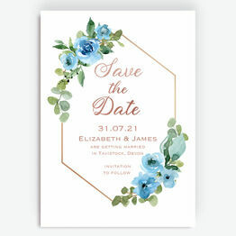 Blue & Copper Floral Save the Date