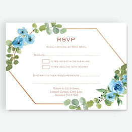 Blue & Copper Floral RSVP