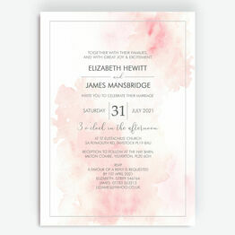 Blush Pink Watercolour Wedding Invitation