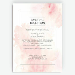 Blush Pink Watercolour Evening Reception Invitation