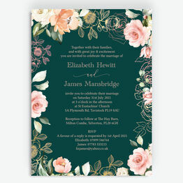 Forest Green, Blush Pink & Rose Gold Floral Wedding Invitation