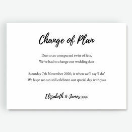 'Change Of Plan' Wedding Postponement Card