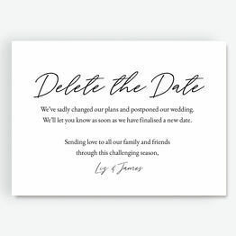 'Delete The Date' Wedding Postponement Card